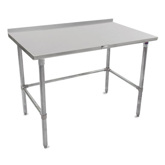 """John Boos 16-Gauge Stainless Steel Stallion Work Table 108"""" W x 24"""" D with 1-1/2"""" Riser, Galvanized Legs and Lower Bracing, Knocked Down"""