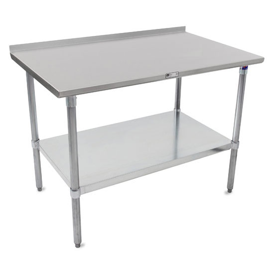 """John Boos 16-Gauge Stainless Steel Top Stallion Work Table 108"""" W x 24"""" D with 1-1/2"""" Rear Riser, Galvanized Legs and Adjustable Shelf, Knocked Down"""
