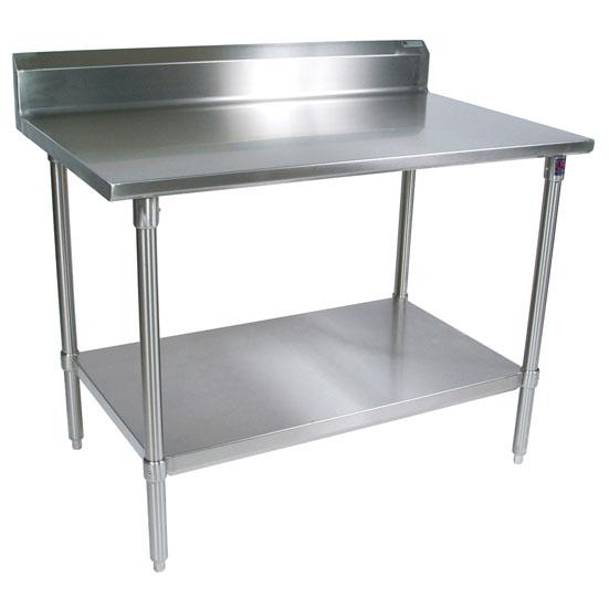 "John Boos 16-Gauge Stainless Steel Worktable w/ 6"" Backsplash & Shelf"