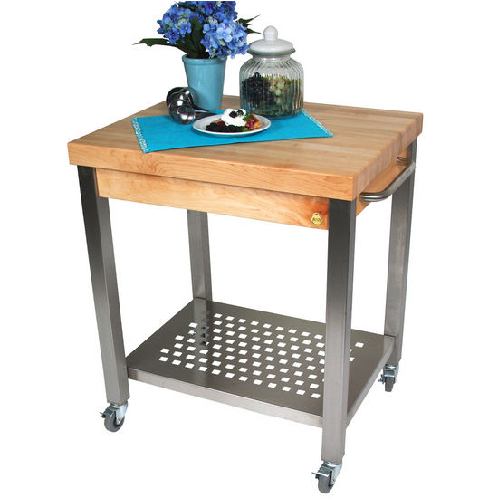 "Danver Commercial Mobile Kitchen Carts: ''The Cucina Technica"" Butcher Block Kitchen Cart From"