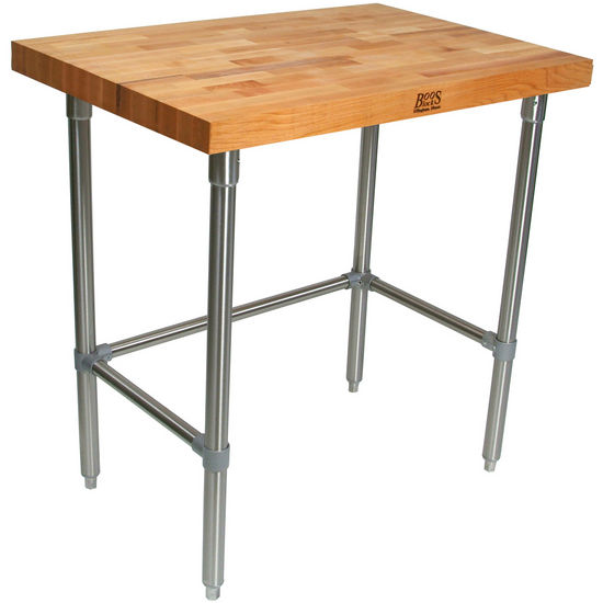 "2-1/4"" Thick Maple Top Kitchen Islands with Stainless Steel Base by John Boos"
