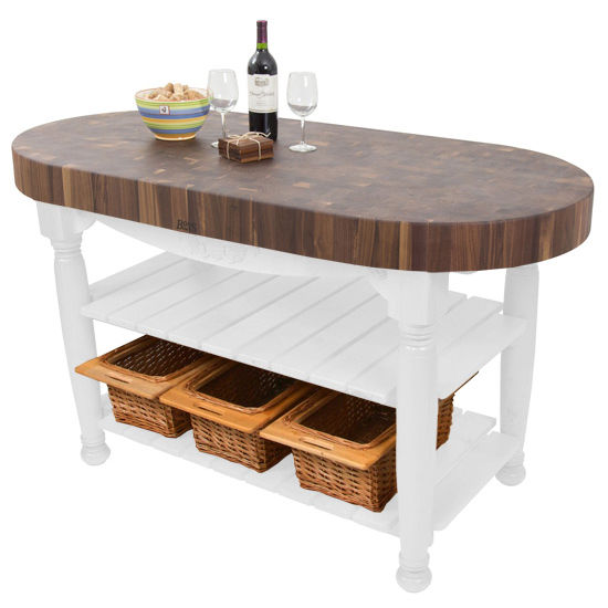 Kitchen Island Harvest Table with 4\'\' Thick End Grain Walnut Oval ...