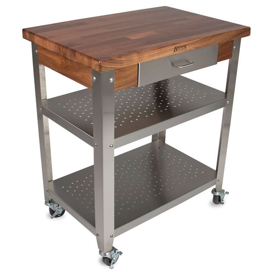 "John Boos Walnut Cucina Elegante Kitchen Cart with 1-1/2"" Thick Walnut Edge Grain Top"
