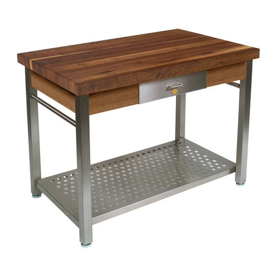 Walnut Cucina Grande Kitchen Work Table with Stainless Steel Base by ...