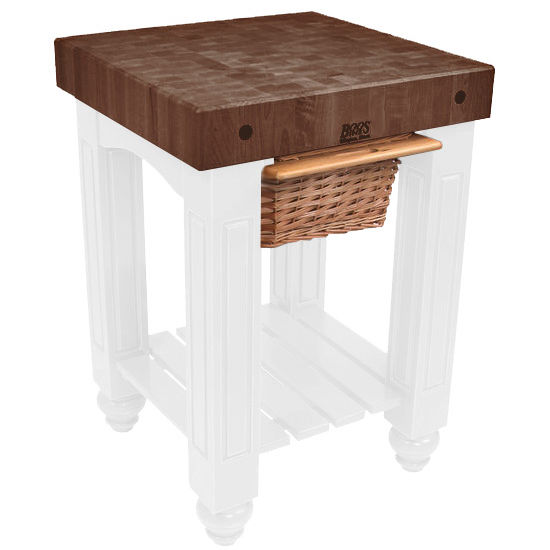 """John Boos Gathering Block with 4"""" Thick End Grain Walnut Top and Pull Out Wicker Basket, 25"""" W x 24"""" D x 36"""" H, Alabaster"""