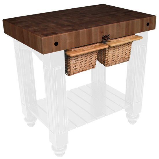 """John Boos Gathering Block II with 4"""" Thick End Grain Walnut Top and 2 Pull Out Wicker Baskets, 36""""W x 24""""D x 36""""H, Alabaster"""