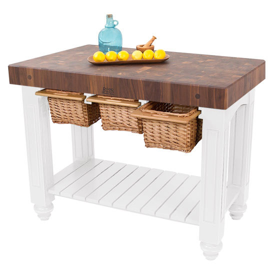 Kitchen Island Gathering Block III with 4\'\' Thick End Grain Walnut ...