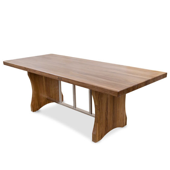 """John Boos Florence Dining Table with Stainless Steel Trestle Bar, Blended American Black Walnut, Varnique Finish, 84""""W x 36""""D x 30""""H, 2-1/4"""" Thick Top"""