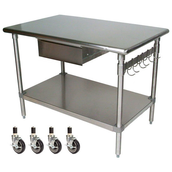 Kitchen work table on wheels gridmann nsf stainless steel commercial kitchen prep - Commercial kitchen tables on wheels ...
