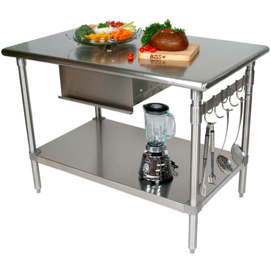 John boos stainless steel work tables work tables - Stainless kitchen tables ...