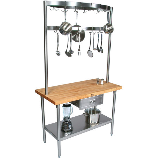 Kitchen Carts Butcher Block Counter Top Cucino Grandioso With Stainless Pot Rack By John Boos Kitchensource