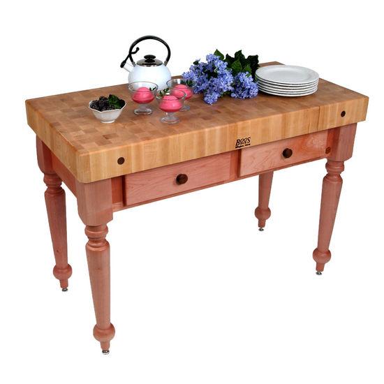 Kitchen island work tables john boos 48 39 39 cucina rustica kitchen work table with hard maple - Butcher block kitchen work table ...