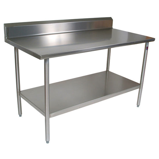 "John Boos Cucina Tavalo Stainless Steel Work Table with 6"" Backsplash"