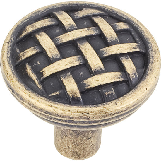 "Jeffrey Alexander Ashton Collection 1-5/16"" Diameter Small Braided Cabinet Knob in Distressed Antique Brass"