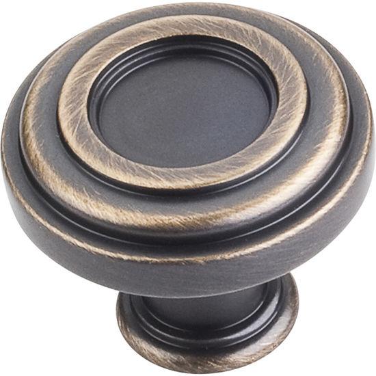 "Jeffrey Alexander Lafayette Collection 1-3/8"" Diameter Circle Cabinet Knob in Antique Brushed Satin Brass"