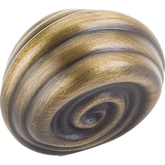 Jeffrey Alexander Lille Collection 1-1/4'' Diameter Palm Leaf Small Round Cabinet Knob in Antique Brushed Satin Brass