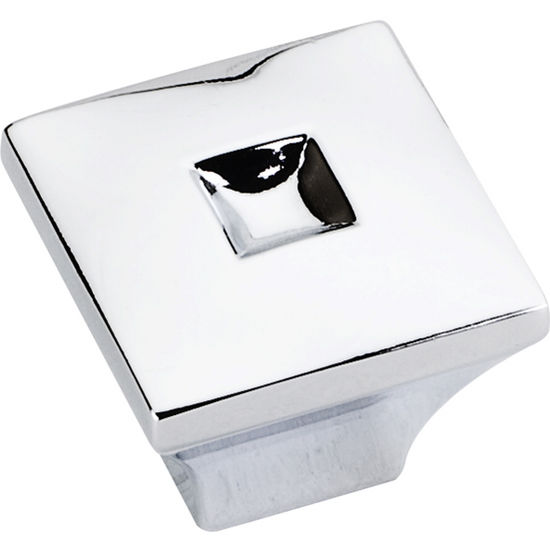 Jeffrey Alexander Modena Collection 1'' W Small Modern Square Cabinet Knob in Polished Chrome