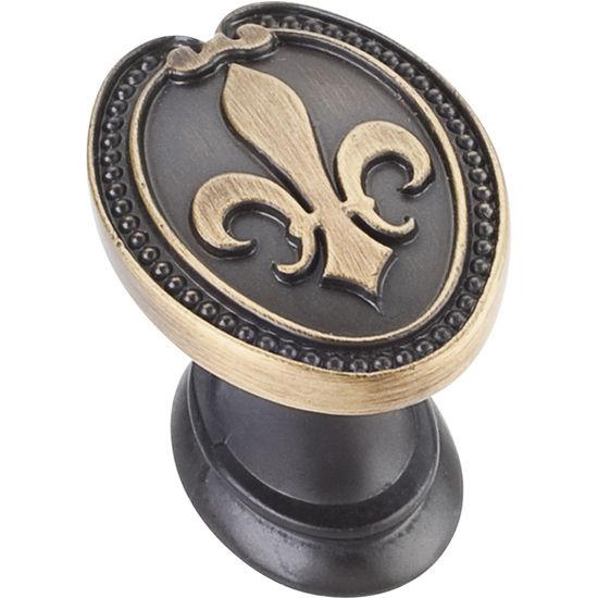 Jeffrey Alexander Bienville Collection 1-5/16'' W Fleur De Lis Cabinet Knob in Antique Brushed Satin Brass