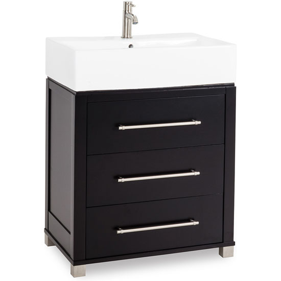 Bathroom Vanity with Porcelain Top and Bowl, 28quot;W x 181/4quot;D x