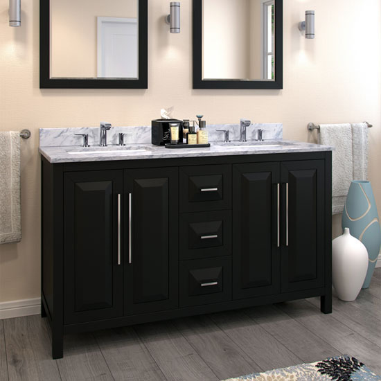 Jeffrey Alexander Cade Contempo Bathroom Double Vanity with Carerra White Marble Top and 2 Bowls, Black Finish