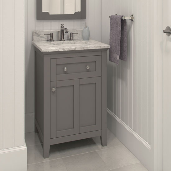 Charmant Jeffrey Alexander Chatham Shaker Bathroom Vanity With Carerra White Marble  Top And Bowl, Grey Finish