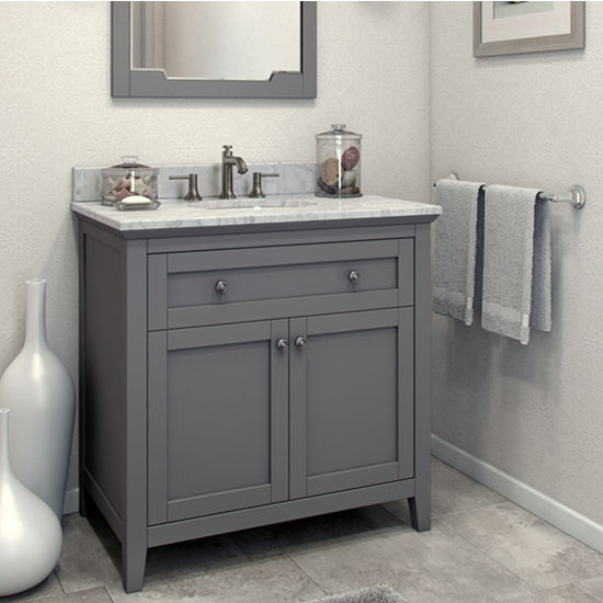 Jeffrey Alexander Chatham Shaker Bathroom Vanity With Carerra White Marble  Top And Bowl, Grey Finish