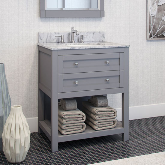 Jeffrey Alexander Astoria Modern Bathroom Vanity with Carerra White Marble Top and Bowl, Grey Finish
