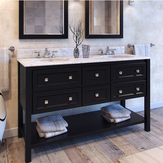 Jeffrey Alexander Adler Bath Elements Vanity with Top & 2 Sinks, Black Painted