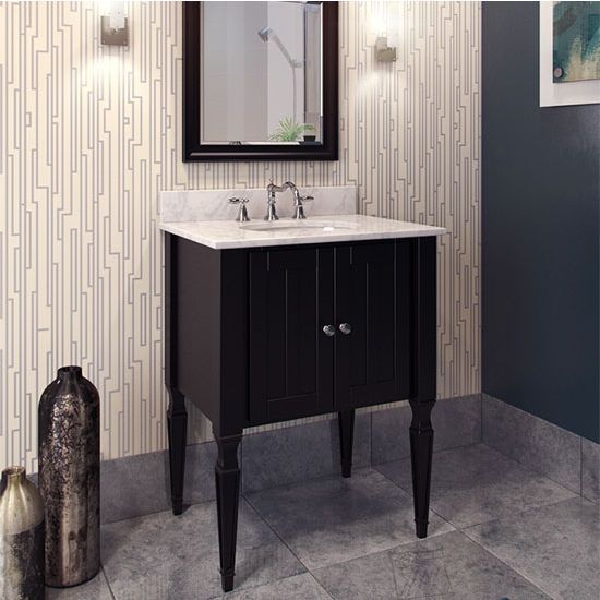 Jeffrey Alexander Jensen Bath Elements Vanity with Marble Top & Sink, Black Painted