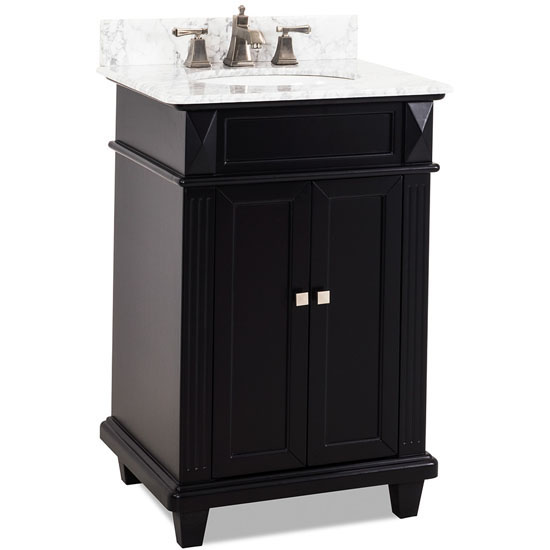 Jeffrey Alexander Douglas Bath Elements Vanity with Marble Top & Sink, Painted Black