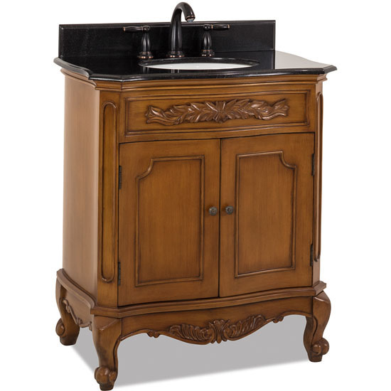 Jeffrey Alexander Clairemont Bath Elements Vanity with Granite Top & Sink, Painted Warm Carmel