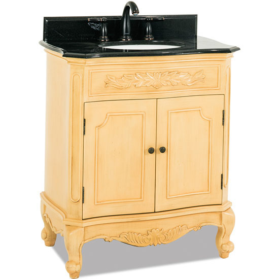 Jeffrey Alexander Clairemont Bath Elements Vanity with Granite Top & Sink, Painted Buttercream