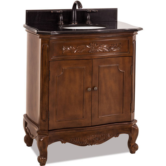 Jeffrey Alexander Clairemont Bath Elements Vanity with Granite Top & Sink, Painted Nutmeg