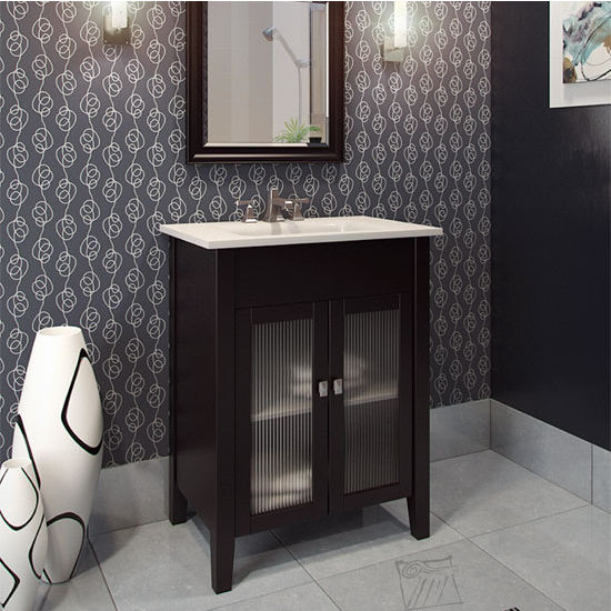 Jeffrey Alexander Eberly Bath Elements Vanity with White Porcelain Top & Sink, Painted Black