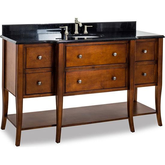 Jeffrey Alexander Philadelphia Classic Vanity with Granite Top & Sink, Chocolate