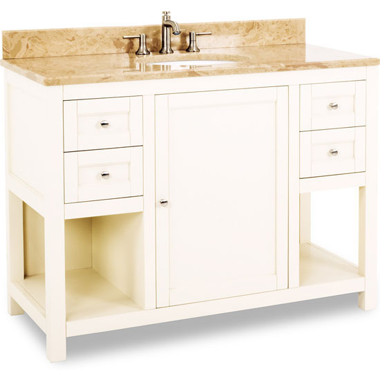 Jeffrey Alexander Astoria Modern Vanity with Marble Top & Sink, Cream White