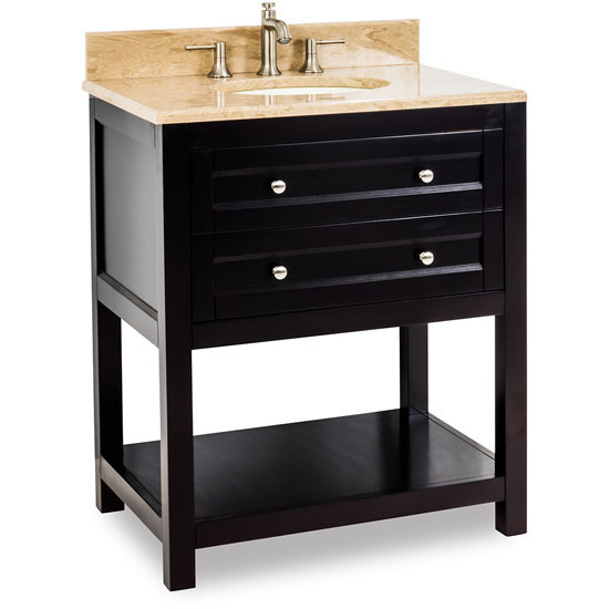 Jeffrey Alexander Astoria Modern Vanity with Marble Top & Sink, Espresso
