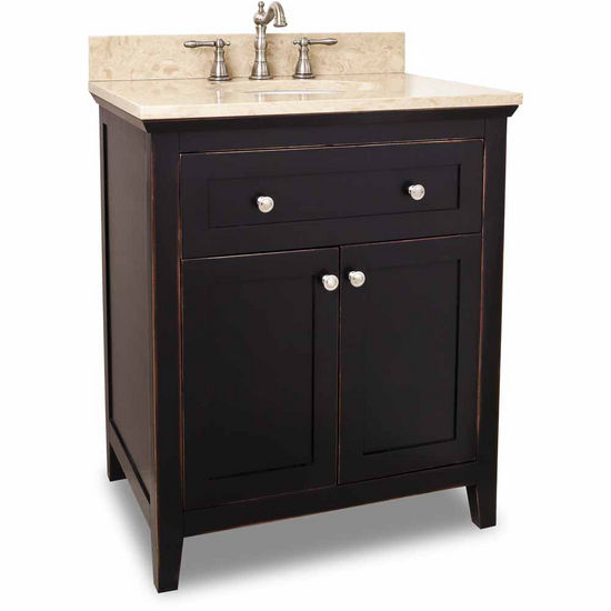 Jeffrey Alexander Chatham Shaker Vanity with Marble Top & Sink, Aged Black