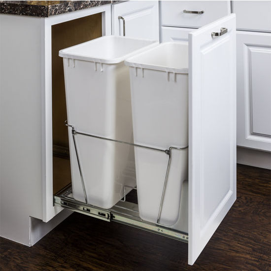 double bin bottom mount pullout waste container system with heavy duty wire construction fits. Black Bedroom Furniture Sets. Home Design Ideas