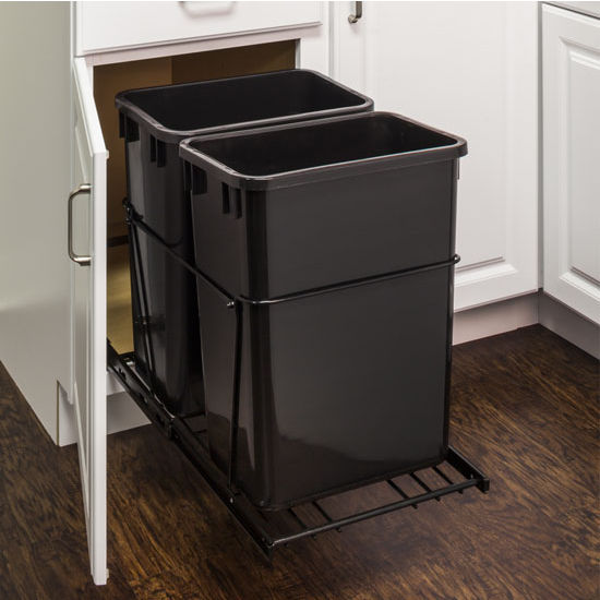 """Double Bin Bottom Mount Pullout Waste Container System, 35 Quart (8.75 Gallon), Heavy Duty Black Wire Construction, Cans Sold Separately, Min. Cab. Opening: 18""""W"""