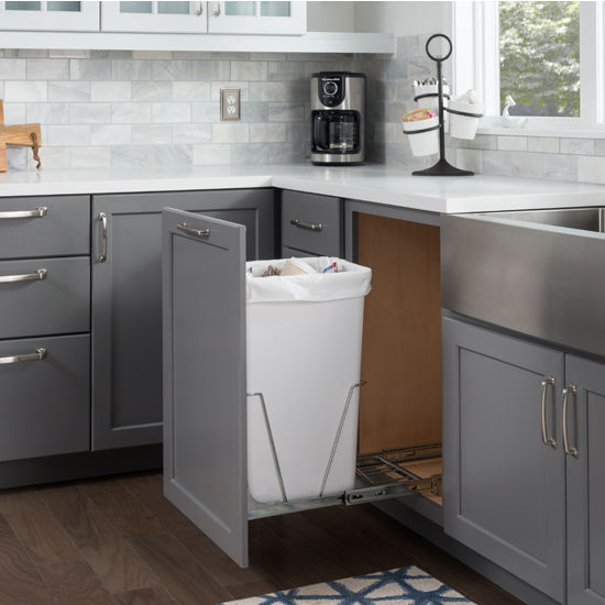 """Single Bin Bottom Mount Pullout Waste Container System, 35 Quart (8.75 Gallon) or 50 Quart (12.5 Gallon), Heavy Duty Chrome Wire Construction, Cans Sold Separately, Min. Cab. Opening: 15""""W"""