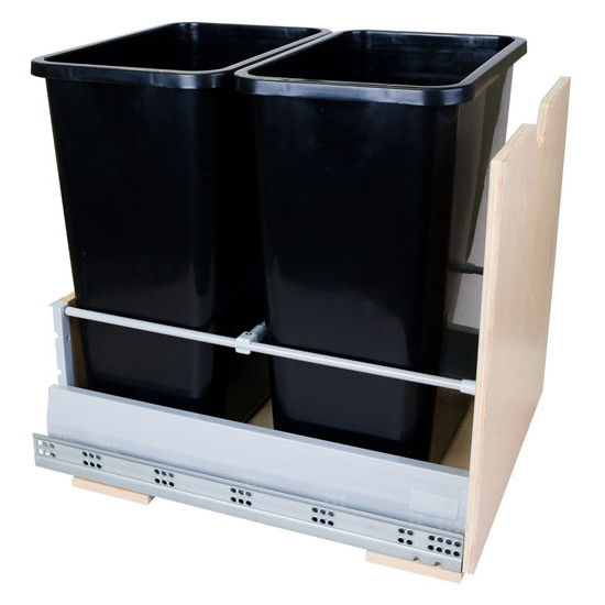 """Double Bin Bottom Mount Pullout Waste Container System, 35 Quart (8.75 Gallon), Black Cans, Min. Cab. Opening: 17""""W"""