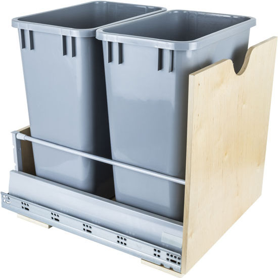 "Double Bin Bottom Mount Pullout Waste Container System, 35 Quart (8.75 Gallon), Gray Cans, Min. Cab. Opening: 17""W"