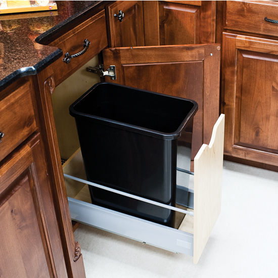 "Single Bin Bottom Mount Pullout Waste Container System, 35 Quart (8.75 Gallon), Black Can, Min. Cab. Opening: 12-1/2""W"