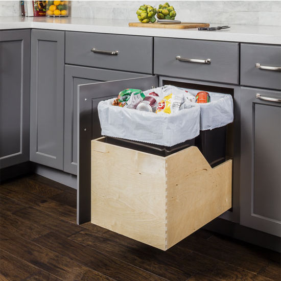 Hardware Resources Double 50 Quart (12.5 Gallon) Pullout Waste Bins, Gray  Cans, Wood Bottom Mount