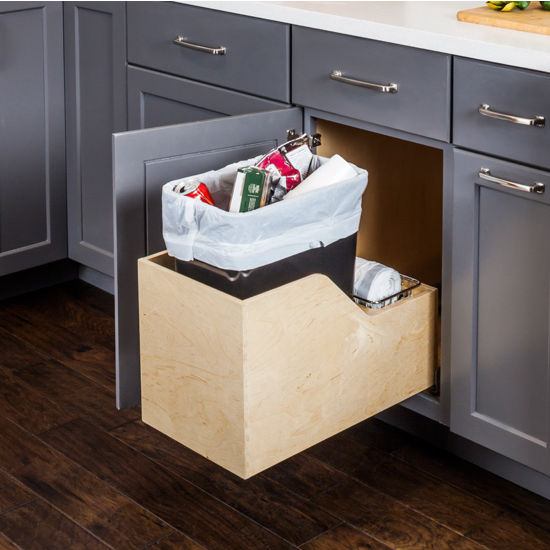 """Single Bin Pullout Waste Container System, 35 Quart (8.75 Gallon), Black Can w/ SS Trash Bag Basket, Min. Cab. Opening: 15""""W"""