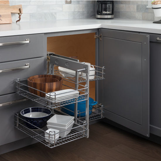 Blind Corner Pullout With 4 Chrome Plated Wire Baskets