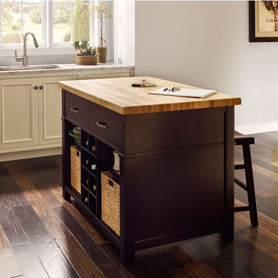 Jeffrey Alexander Conversation Espresso Kitchen Island with Matching Stools