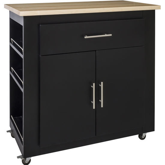 Jeffrey Alexander Elements Painted Black Kitchen Island with Wood Top