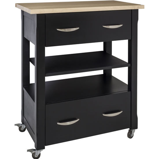 Jeffrey Alexander Elements Painted Black Kitchen Island Cart with Wood Top